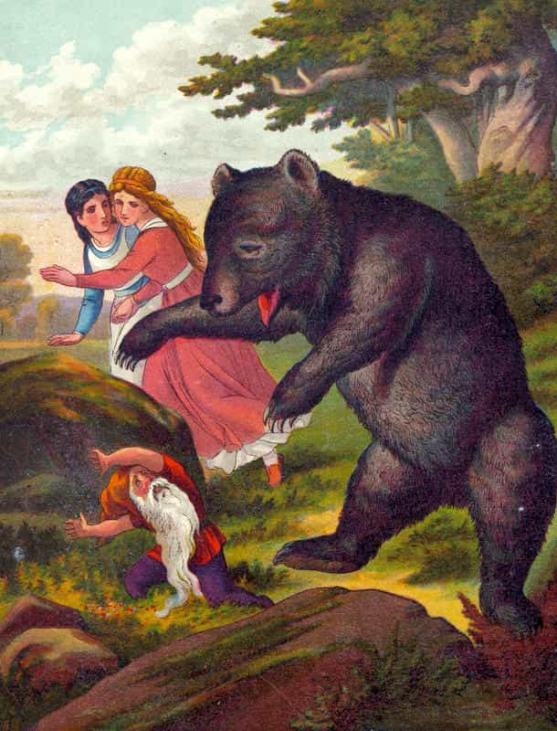 الدب والقزم وقصة بياض الثلج وحمرة الورد